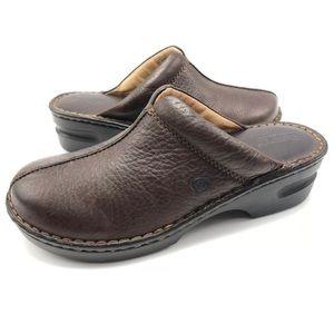 Born 9M Leather Split Toe Slip On Mules Clogs